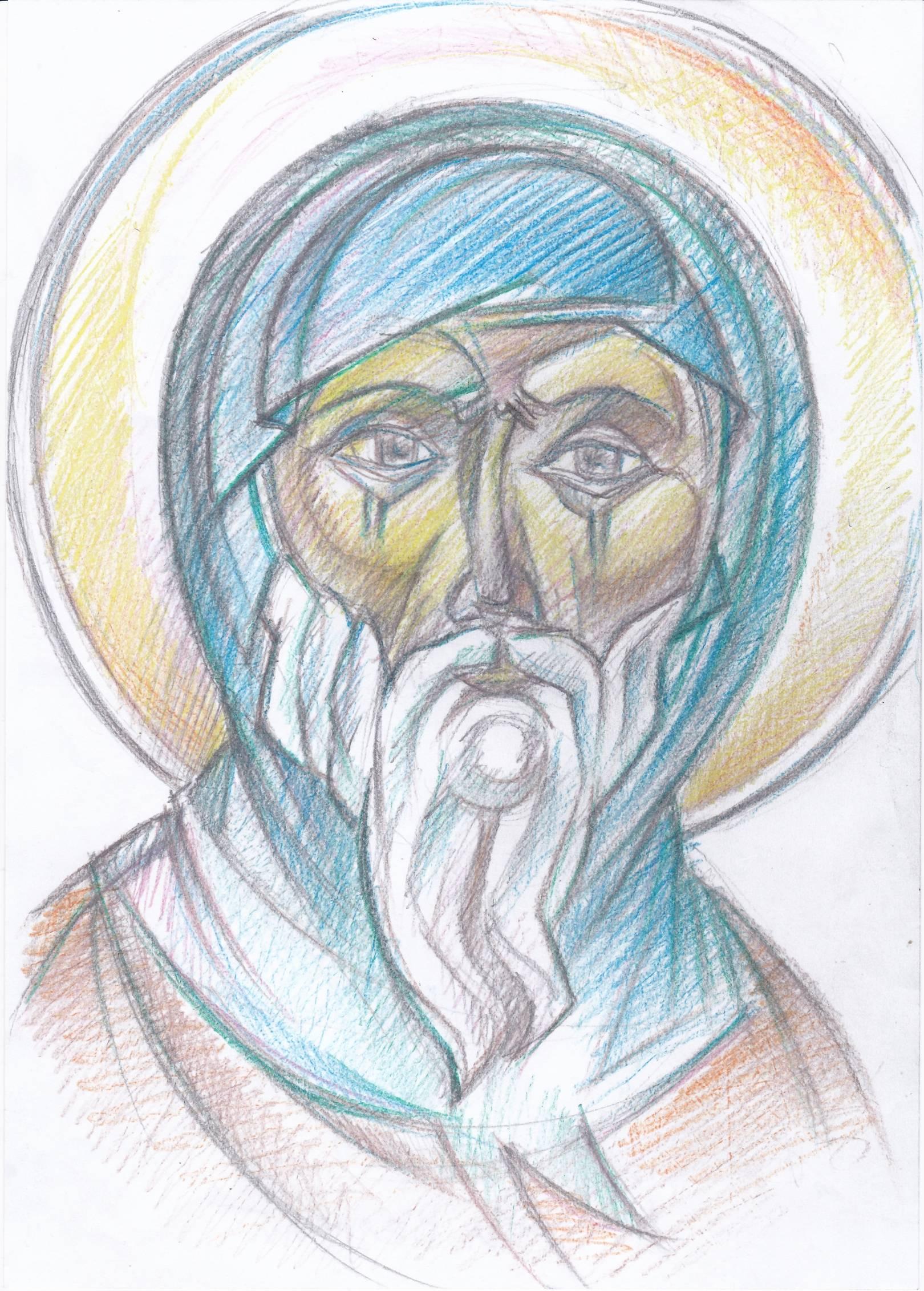 Святой Антоний Великий.  ( эскиз  для иконы )