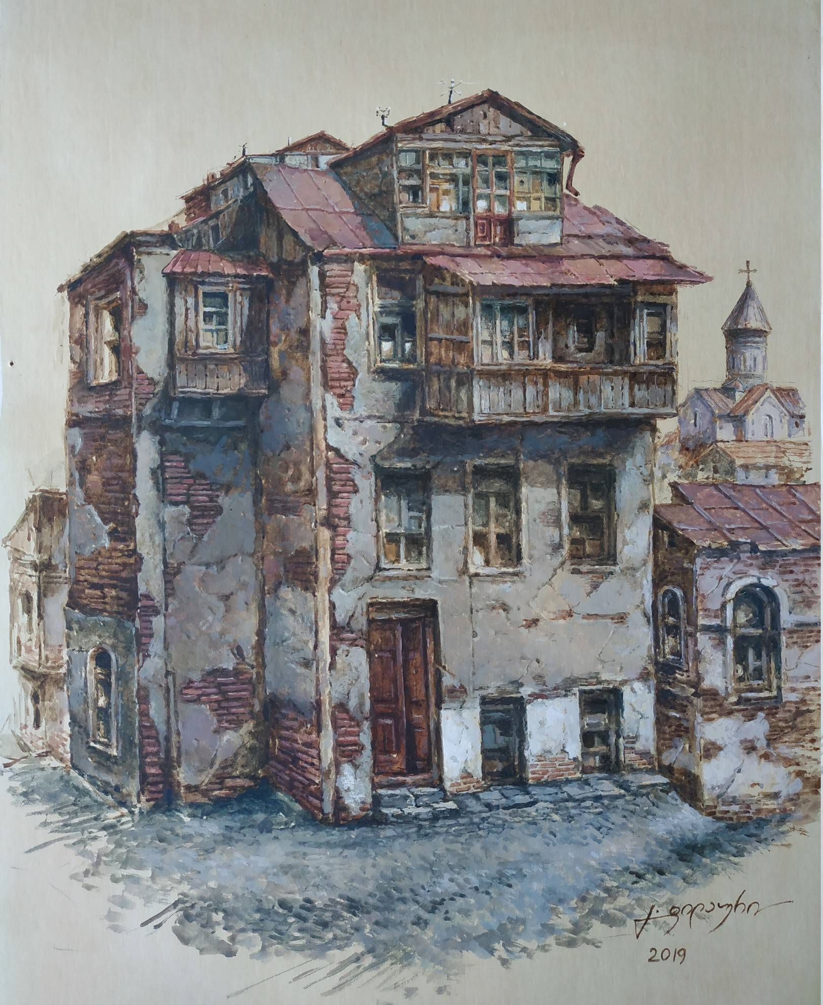 «Старый дом»           бумага, акварель, гуашь «Old house»                paper, aquarelle, gouache 41x33, 2019