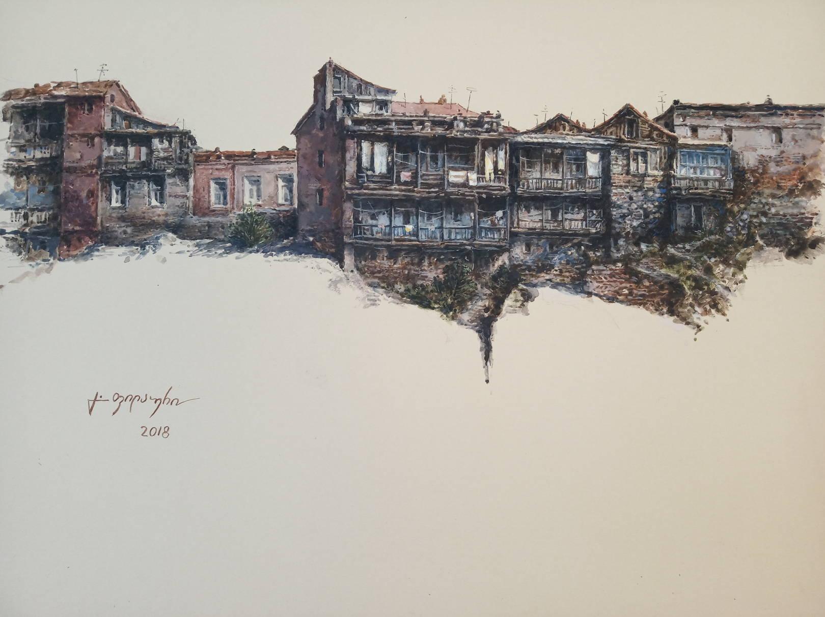 «Старые дома около Метехи»        бумага, акварель, гуашь «Old houses near Metekhi»               paper, aquarelle, gouache 30x42, 2018
