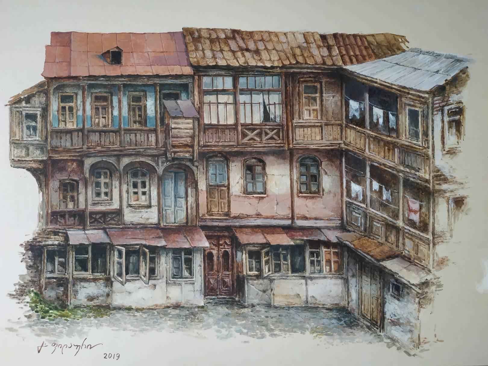 «Старый дом - Тбилисский дворик»  бумага, акварель, гуашь «Old House»                                                       paper, aquarelle, gouache 38x53, 2019