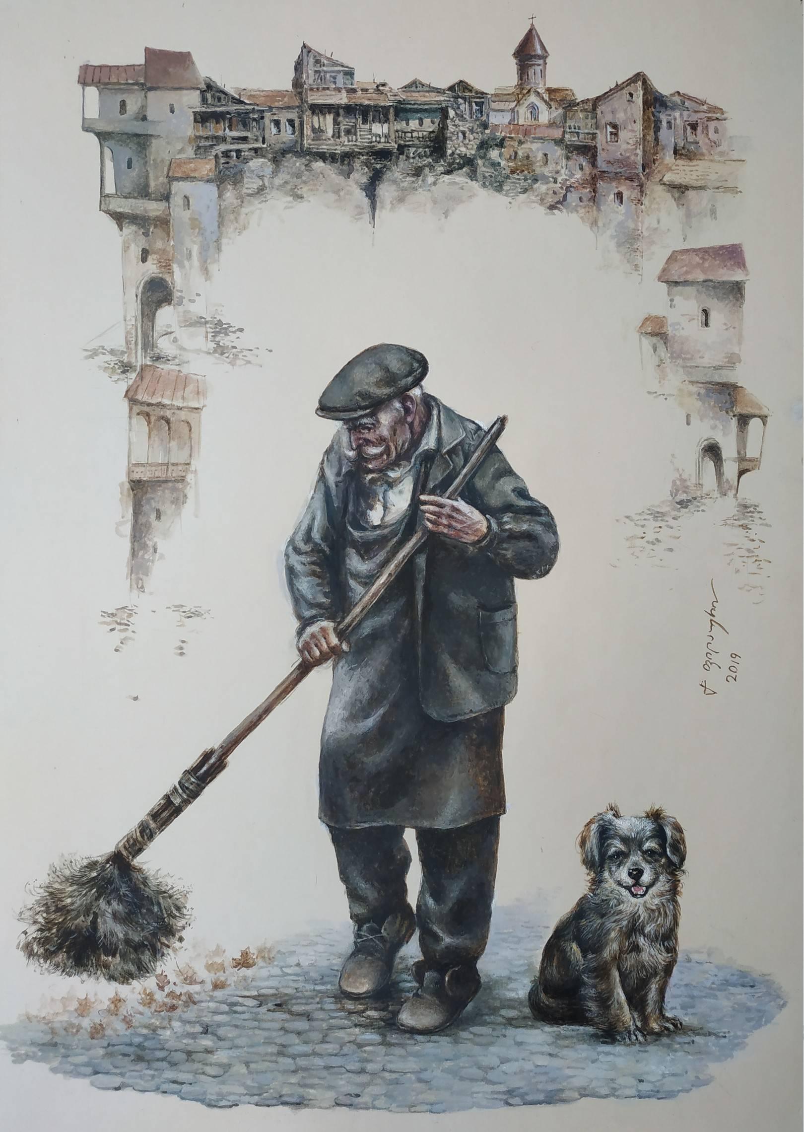 «Дворник»    бумага, акварель, гуашь «Yardman»    paper, aquarelle, gouache 53x38, 2019