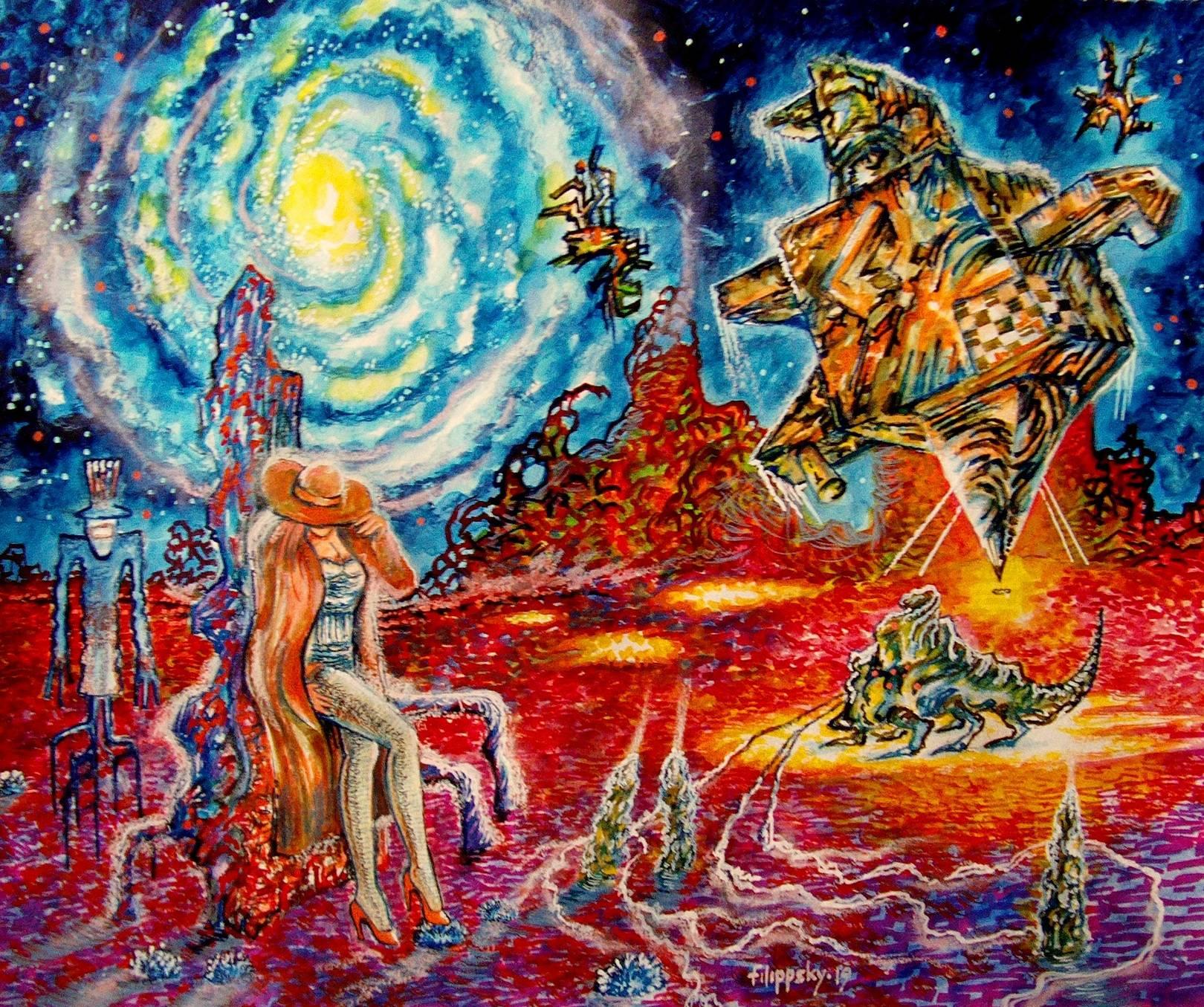 Одинокая девушка и пришелец в шляпе в красной пустыне на фоне галактики.