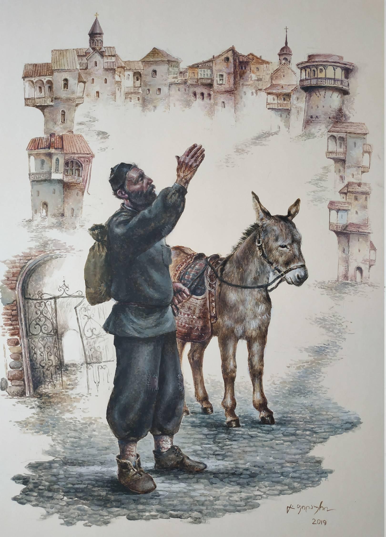 «Продавец мацони»    бумага, акварель, гуашь «Peasant»    paper, aquarelle, gouache 53x38, 2019