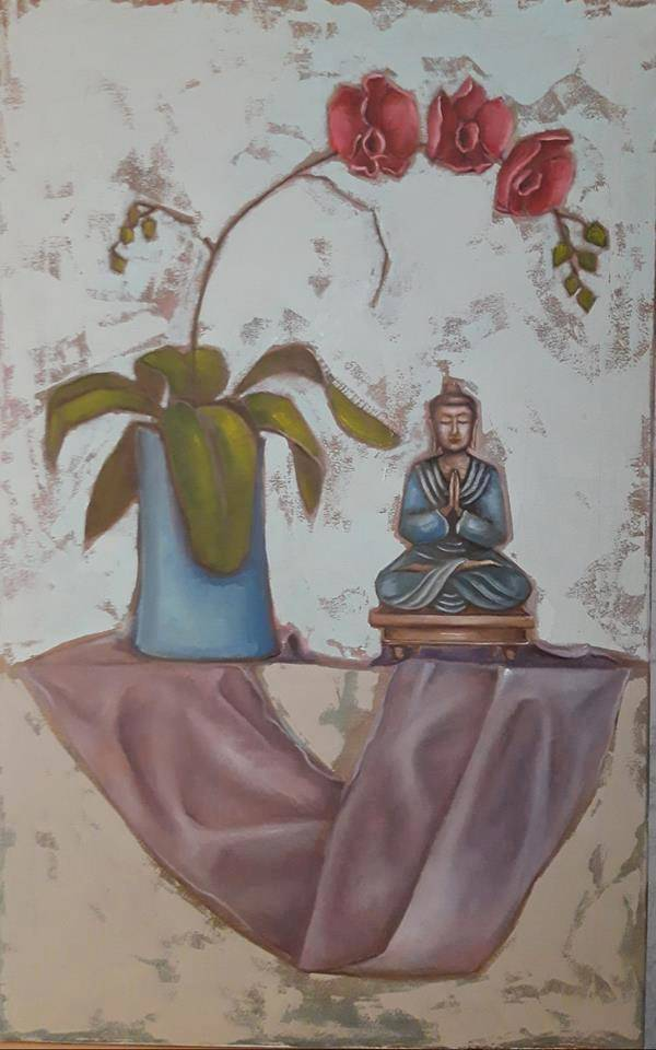 "Натюрморт ""Будда и орхидея"", холст, масло, 50х80 см"