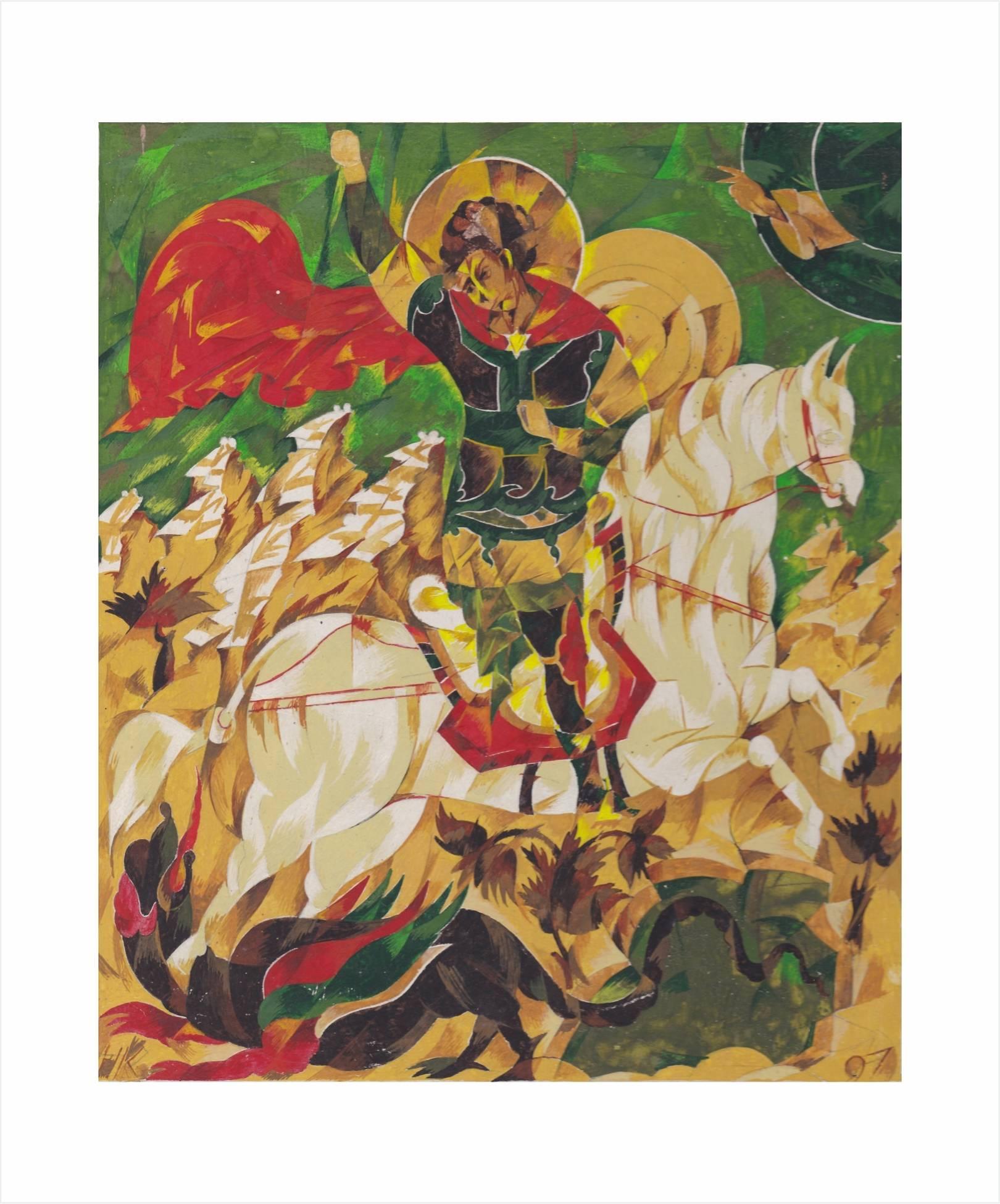 Георгий Победоносец. Эскиз в стиле кубизма.