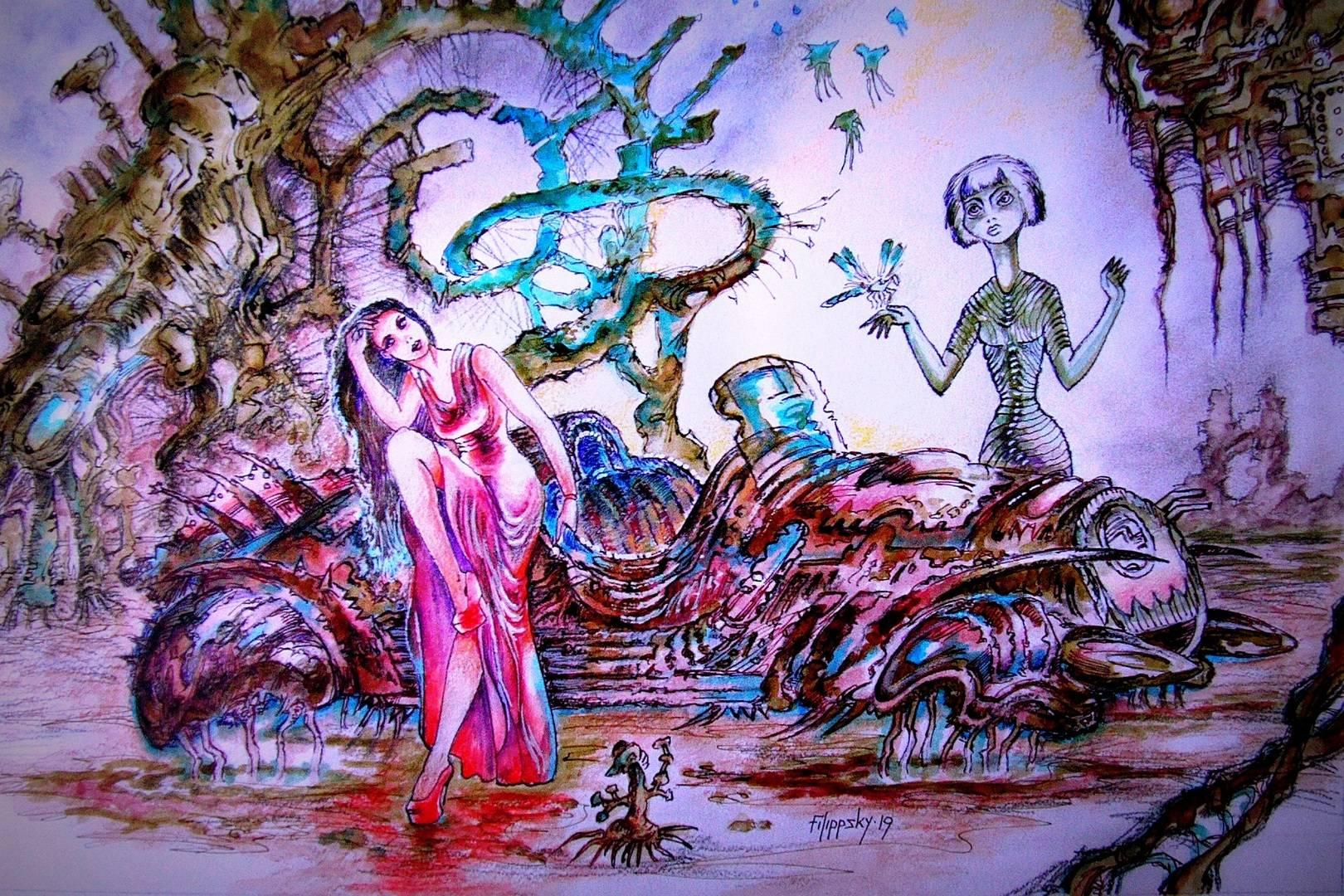 Левитирующий биомеханический глайдер со своими знакомыми инопланетянами в образе девушек.