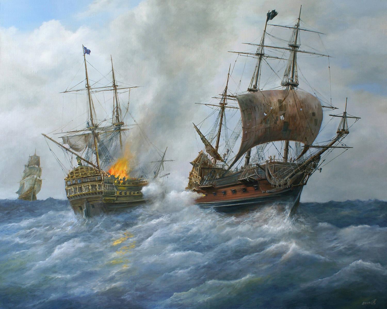 """Пиратский галеон """"Месть королевы Анны"""" атакует английский военный фрегат - холст/масло, 80х100, 2019"""