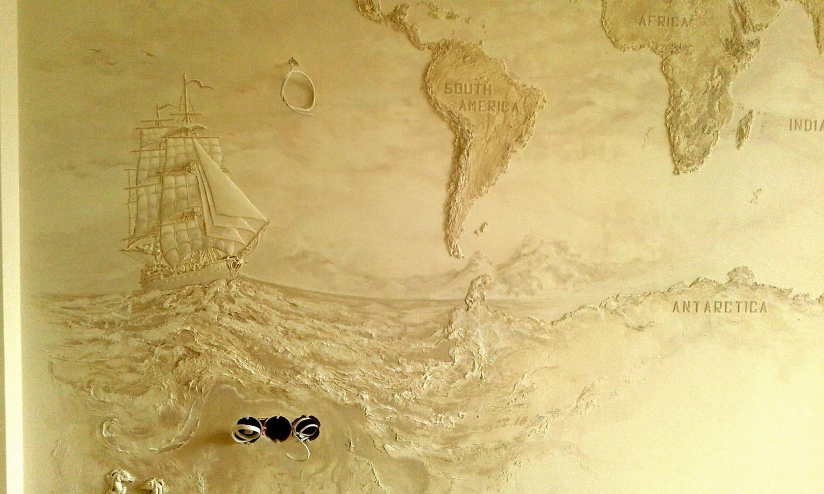 Барельеф Карта мира.