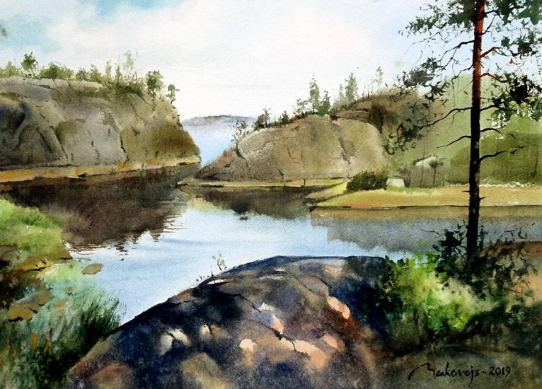 ,,Шхеры в Карелии,,акв.бум.DMD watercolor paper,28x36 см.2019 г.