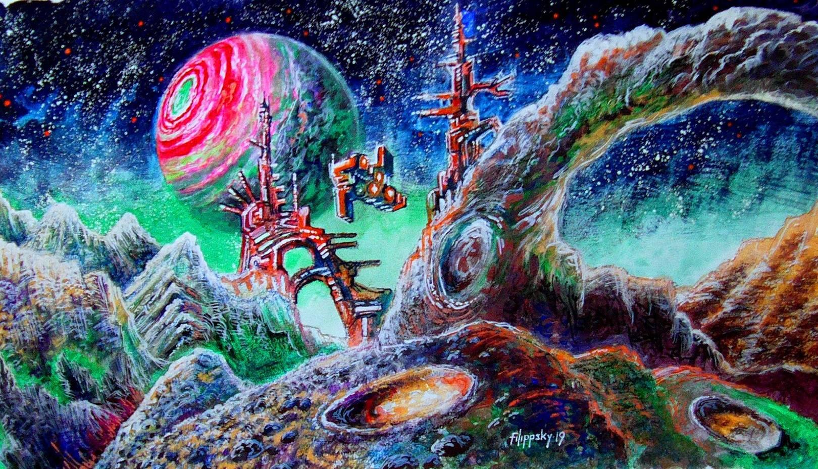 Ледяная луна экзопланеты.