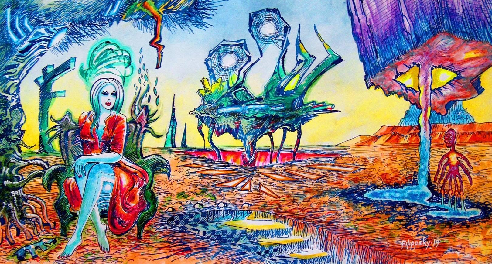 Метафизический пейзаж с пришельцами.