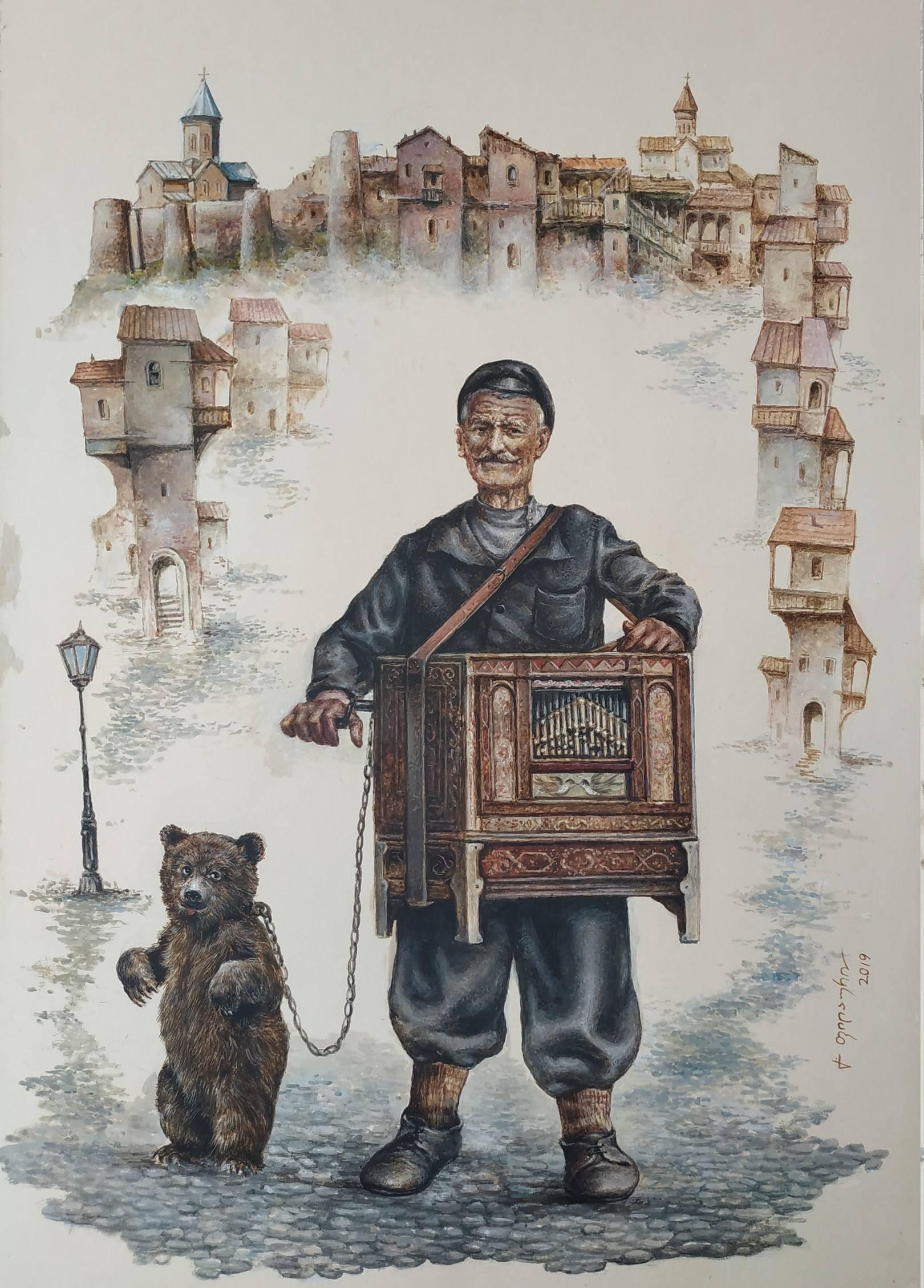 «Шарманщик»    бумага, акварель, гуашь «Organ-grinder»    paper, aquarelle, gouache 53x38, 2019