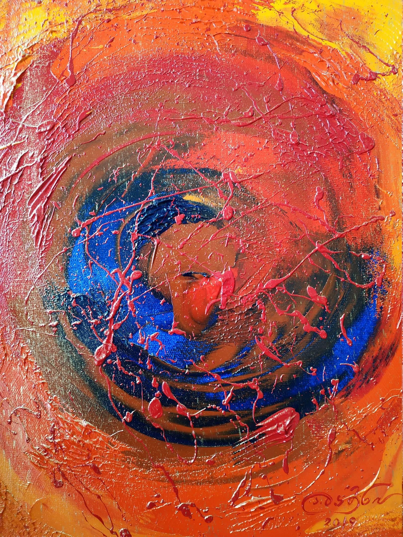«Глаз красной луны»  холст, масло «Eye of the red moon»  oil on canvas  40x30,  2019
