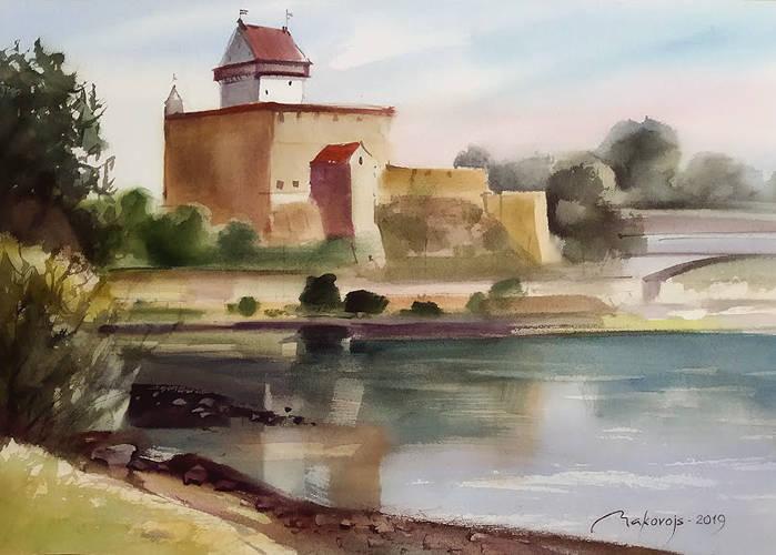 ,,Вид на Нарвский замок,,акв.исполнена на 5 Междунар.пленере в г.Нарва,Эстония.