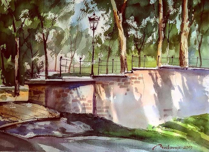 ,,Солнечный день в парке,акв.исполнена на 5 Междунар.пленере в г.Нарва,Эстония.