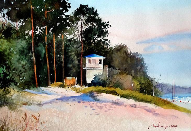 ,,Сосны освещенные солнцем,,акв.исполнена на 5 Междунар.пленере в г.Нарва,Эстония.
