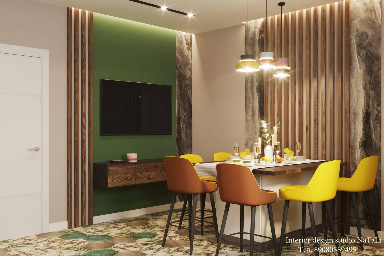 Дизайн интерьера квартиры в современном стиле в ярких оттенках, выполнен в студии дизайна интерьера Натали. Выполняем дизайн интерьера и ремонтные работы под ключ.