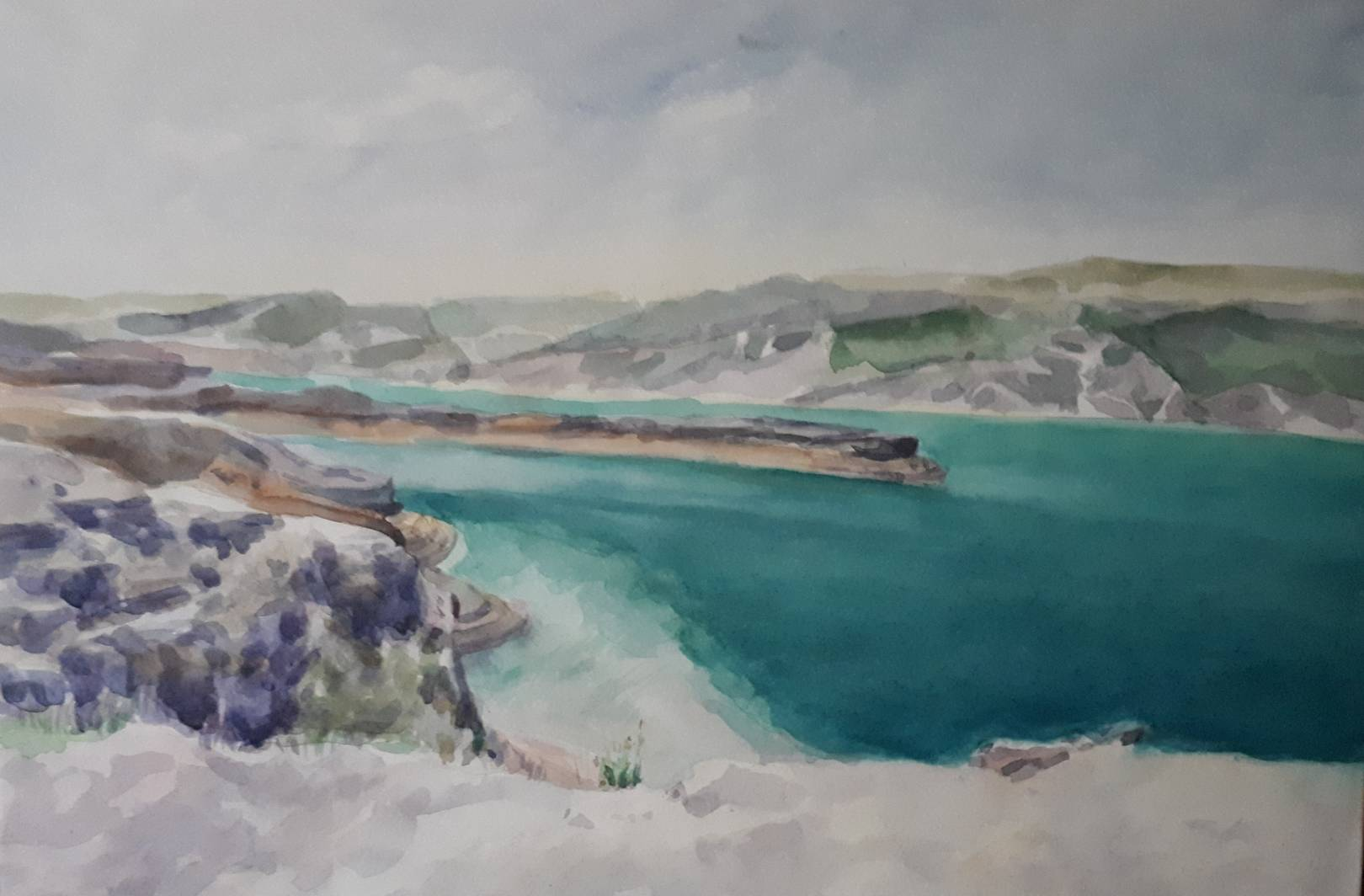 """Каньон реки Сулак, Дагестан"", бумага, акварель, 27х42, 2019"
