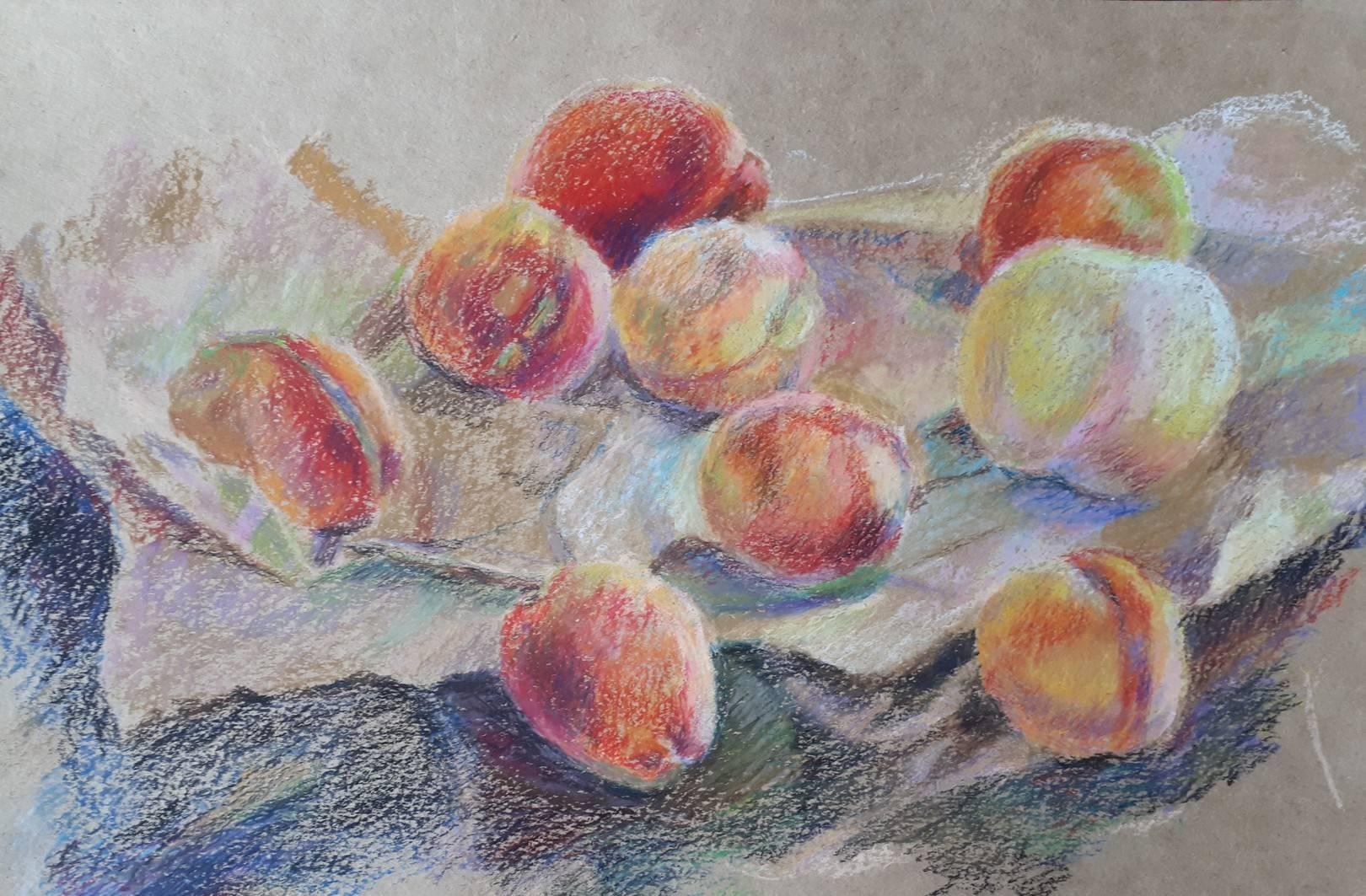 """""""Персики"""", бумага, восковая пастель, 27х42, 2019"""