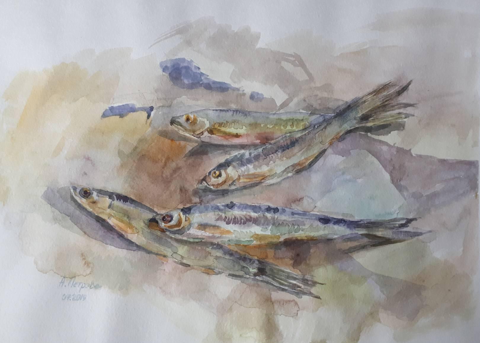 """""""Рыбы"""", бумага, акварель, 27х38, 2019"""