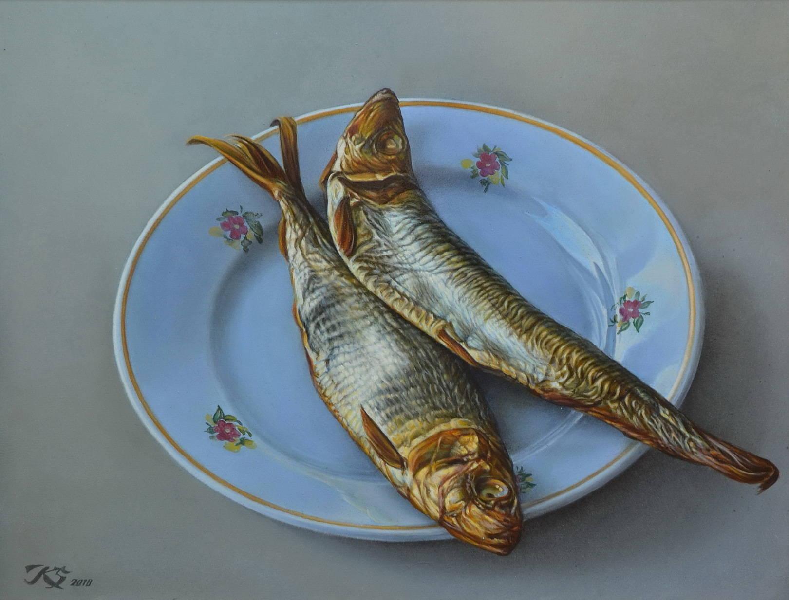 Рыба. Парный портрет. 30х40. Кожа, масло