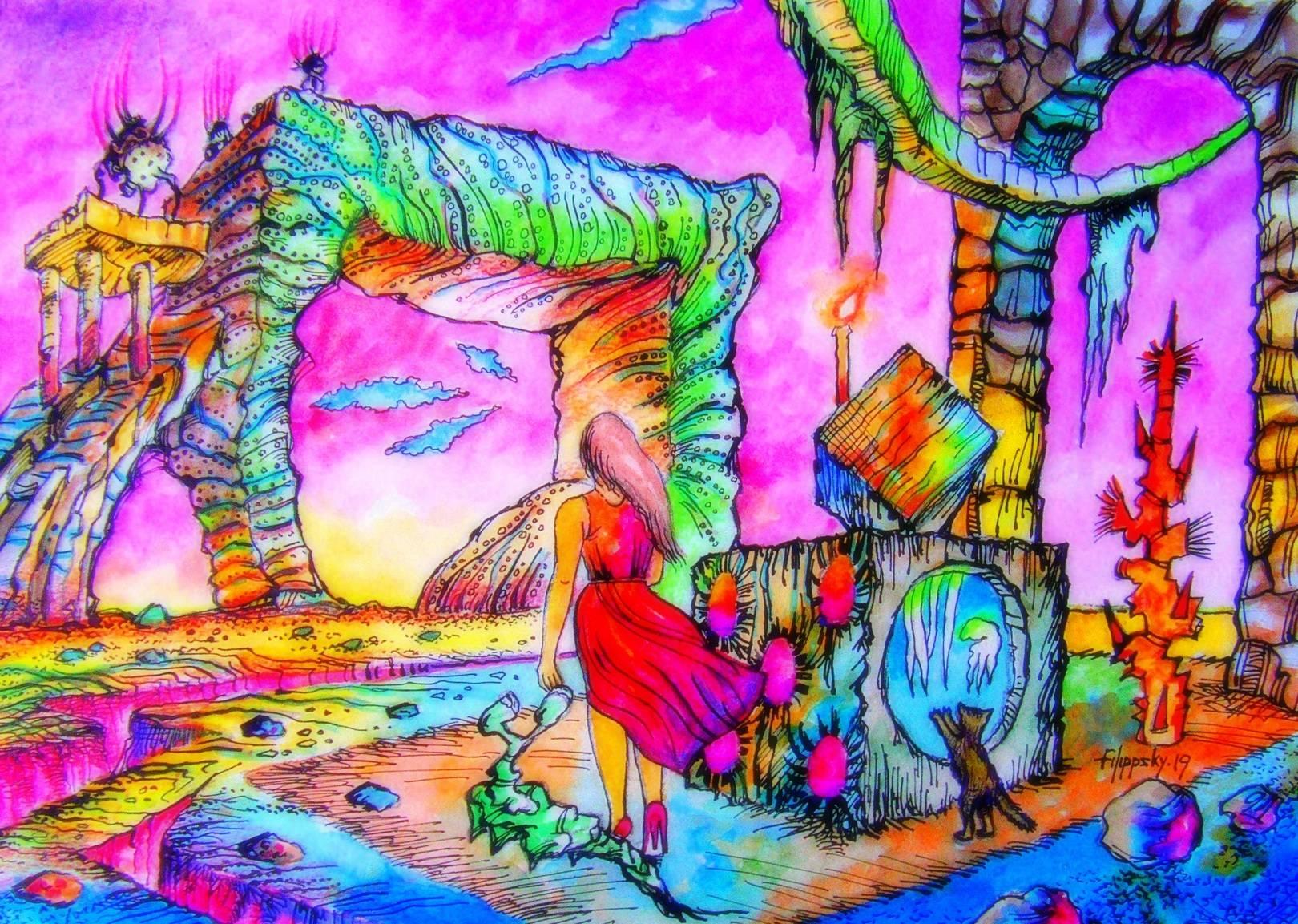 Пейзаж с любопытной кошкой и девушкой в красном,идущей в никуда.