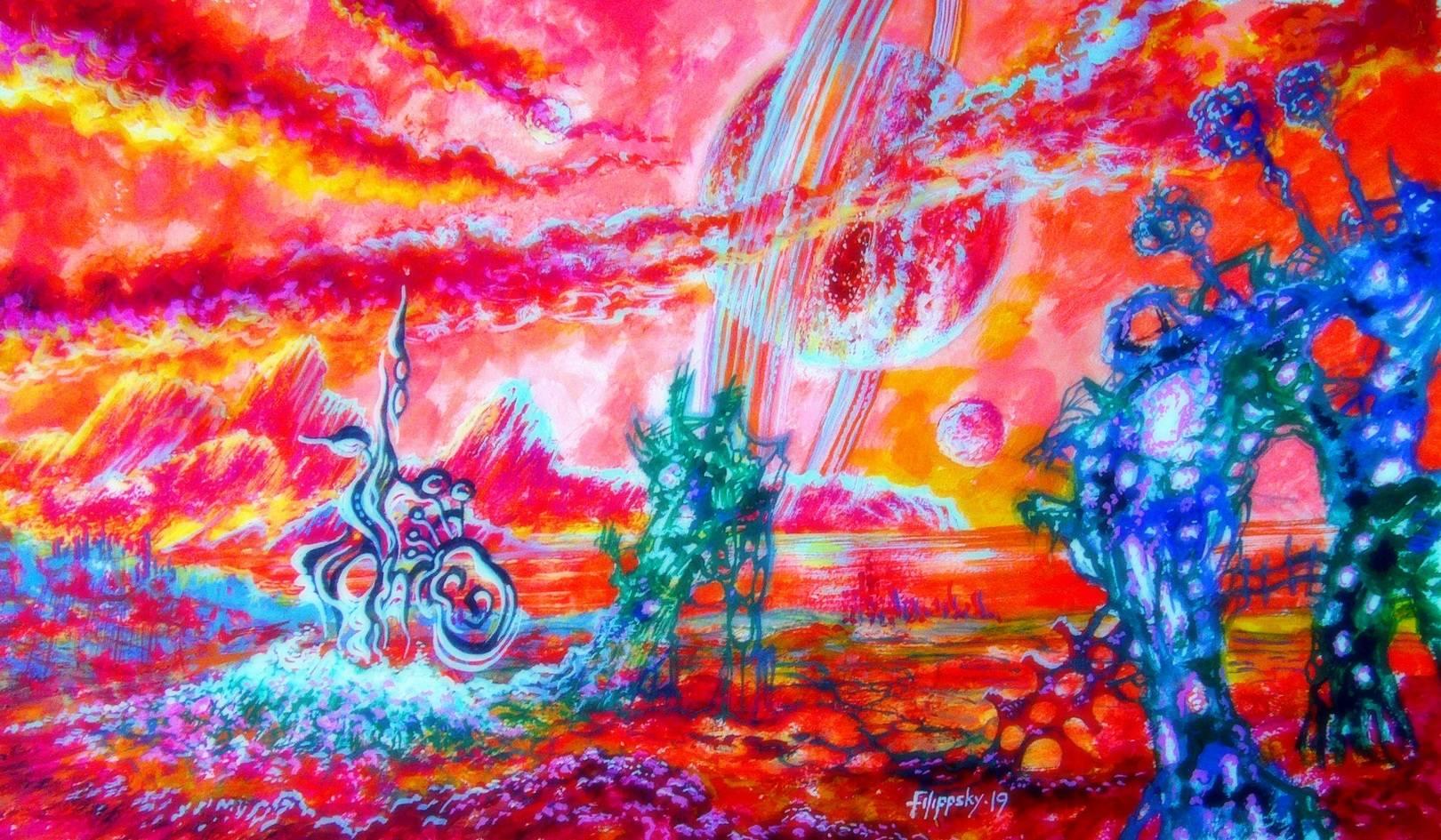 Вид на Юпитер с Ганимеда через 3,5 миллиарда лет.  Очень далекое будущее,Солнце стало гигантом,сходя с главной последовательности в своей эволюции.Поглотив все внутренние планеты,вплоть до Земли,оно разогрело систему Юпитера.Приливные силы разорвали его спутник Ио и планета приобрела кольца,сам Ганимед превратился в один большой океан с небольшими клочками суши,где возникли симбиотические формы жизни...
