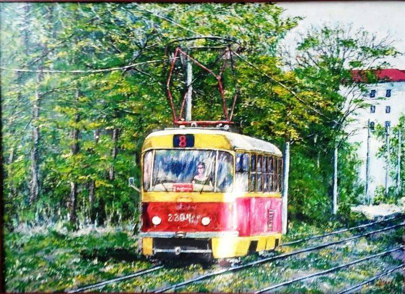 Трамвай. Холст 600*440  2019г.