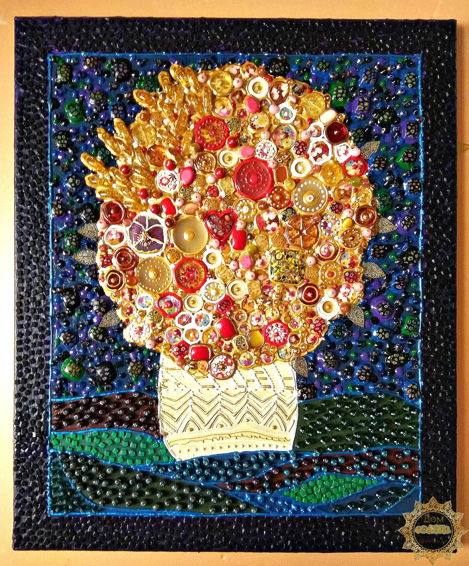 Декоративное панно из полудрагоценных камней и муранского (венецианского) стекла Солнечный букет по мотивам работ испанского художника Хуана Ромеро (Juan Romero)