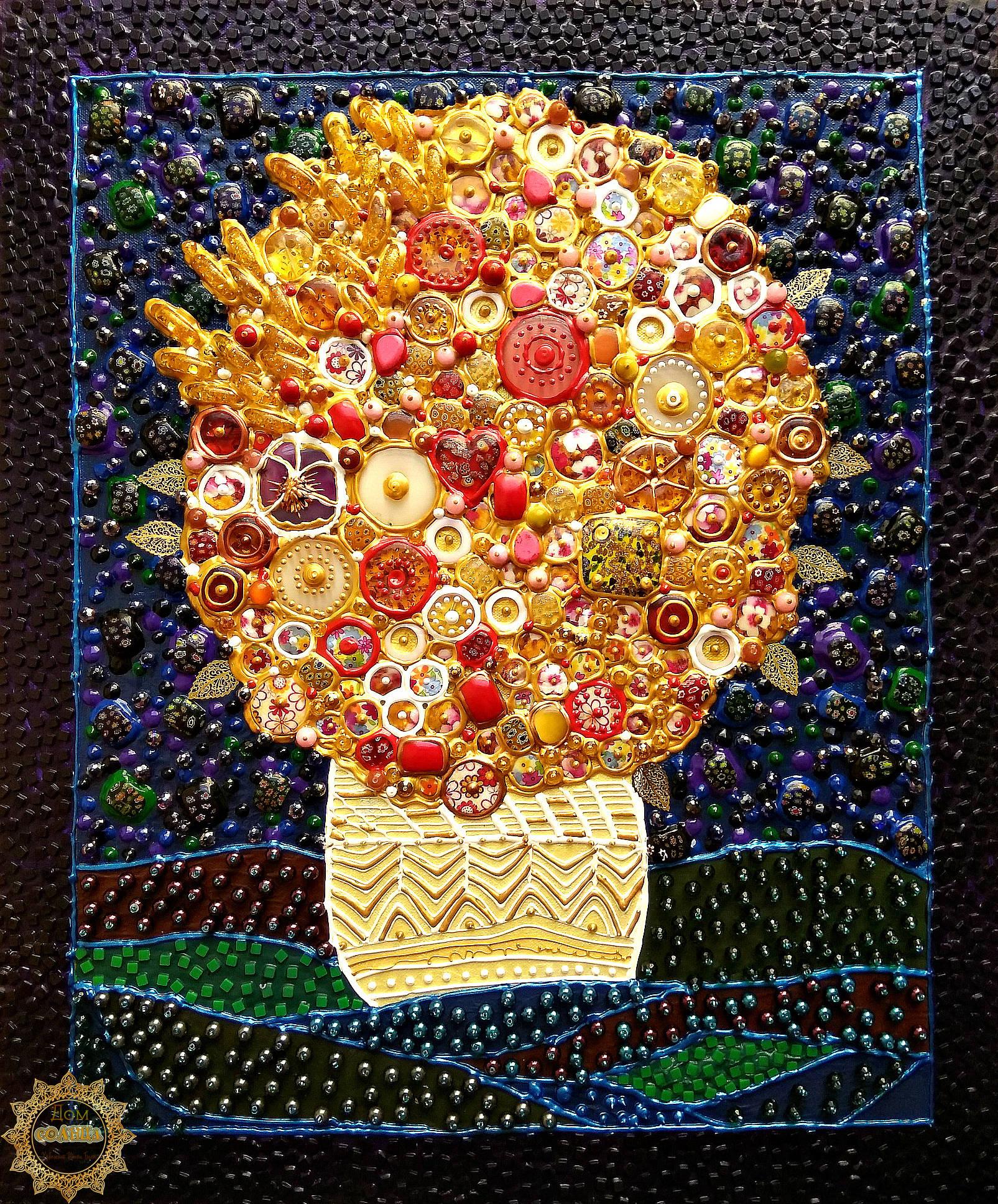 Декоративное панно из полудрагоценных камней и муранского (венецианского) стекла Солнечный букет по мотивам работ испанского художника Хуана Ромеро (Juan Romero).