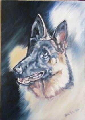 Портрет на замовлення собаки-Барочки.ДВП,олійні фарби,А-4.