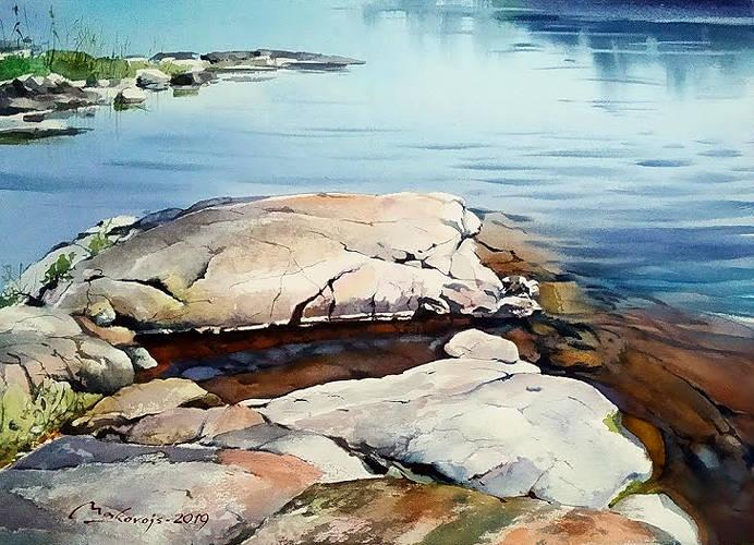 ,,Камни острова Валаам,, акв.бум.DMD watercolor paper 400 гр.латвийского производства,36x53 см.2019 г.
