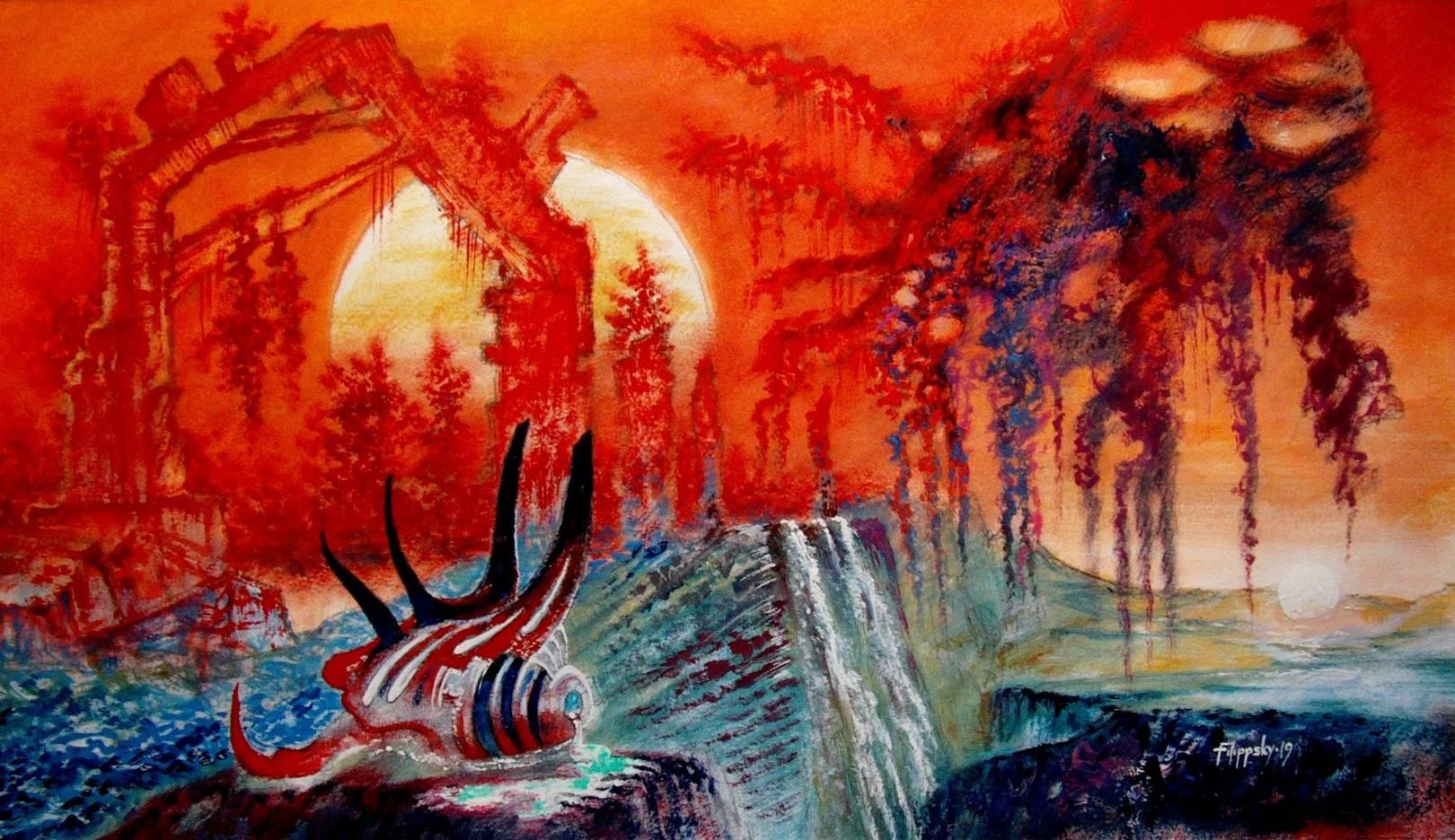 Аморфный пришелец среди руин на закате бинарного светила.
