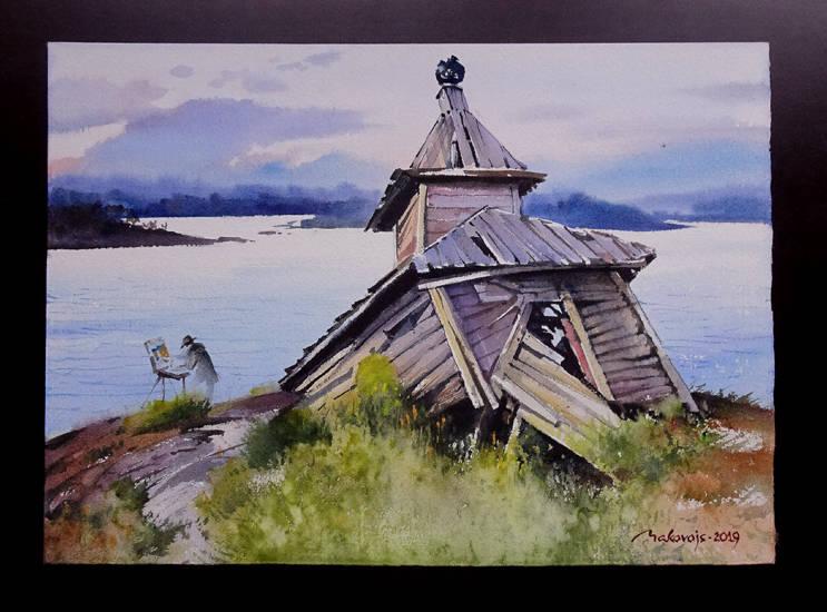 ,,Белые ночи Карелии,,акв.на бум.DMD watercolor paper 360 гр.36x53 см.2019