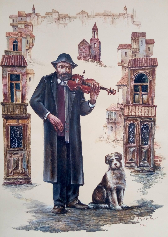 «Странствующий скрипач»      бумага, акварель, гуашь «Wandering Violinist»                   paper, aquarelle, gouache 70x50, 2018