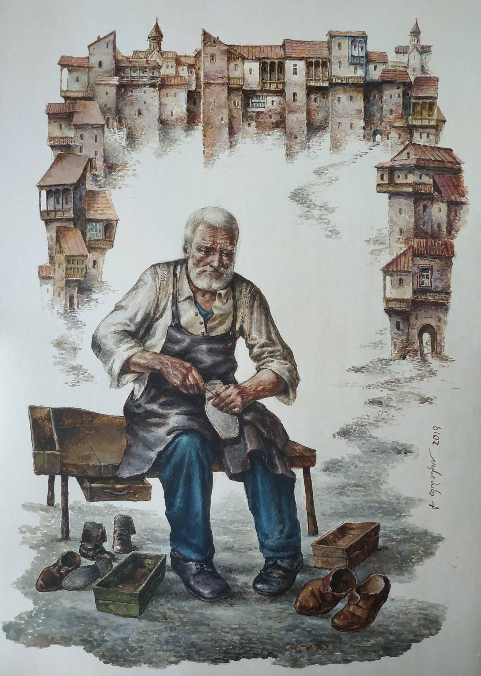 «Сапожник»    бумага, акварель, гуашь «Shoemaker»    paper, aquarelle, gouache 53x38, 2019