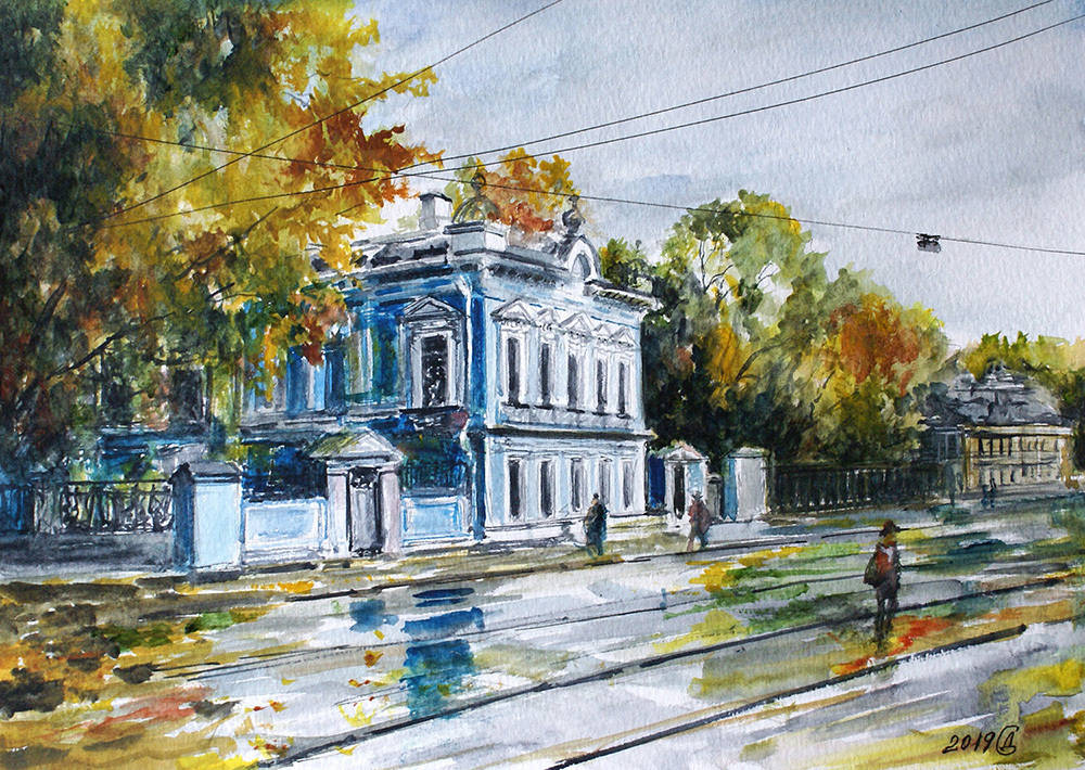 Осень на Новокузнецкой (дом К.П.Бахрушина) - бумага/акварель, 21х30, 2019