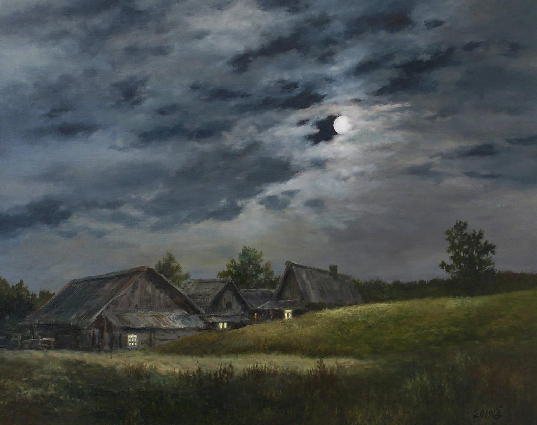 Лунная ночь в деревне - холст/масло, 40х50, 2019