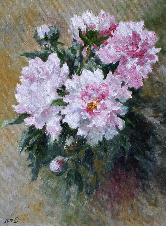 Цветут пионы белые - холст на картоне/масло, 40х30, 2019