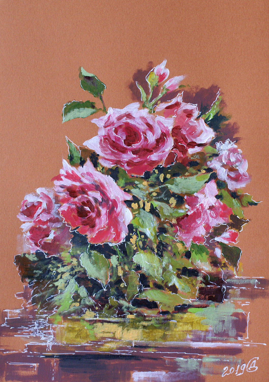 Розы - тонированная бумага/акрил, 30х21, 2019