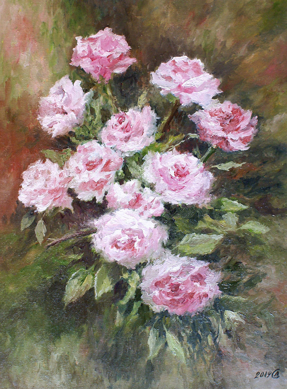 Розовый этюд - холст на картоне/масло, 40х30, 2019