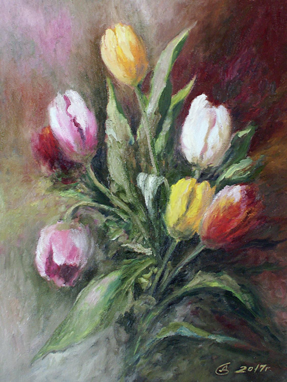 Букет тюльпанов - холст на картоне/масло, 40х30, 2019