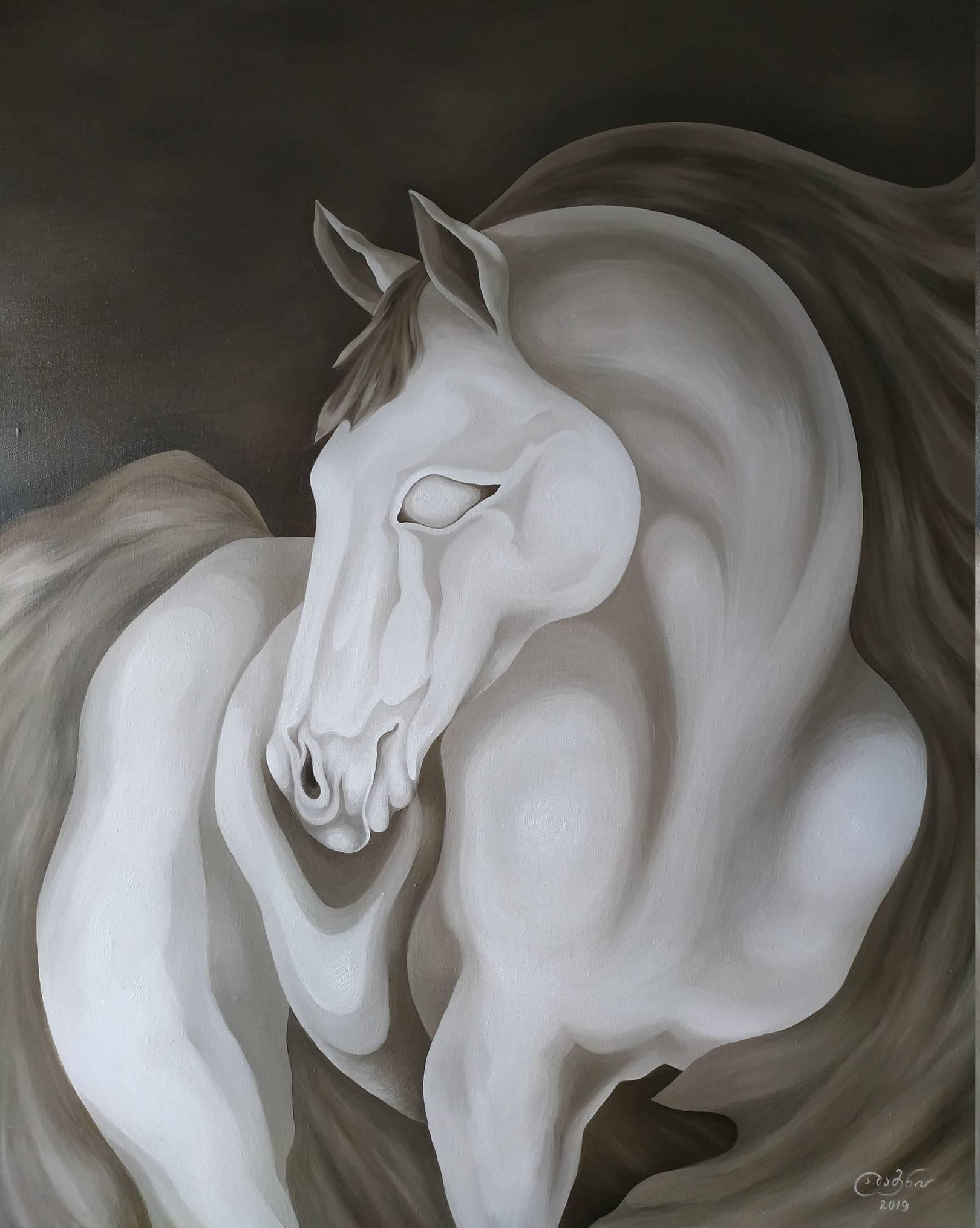 «Иллюзорный конь — отражённое в облаках лунное сияние» холст, масло «Illusory Horse - Moonlight reflected in the clouds» oil on canvas                                                     100x80,  2019