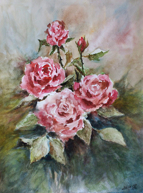 Розы в акварели - бумага/акварель, 32х24, 2019