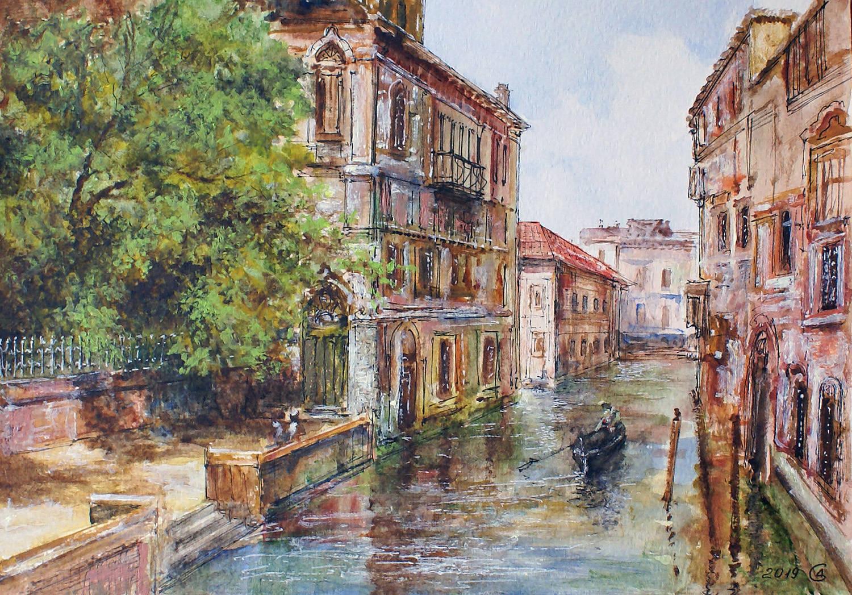Старая Венеция - бумага/смешанная техника, 21х30, 2019