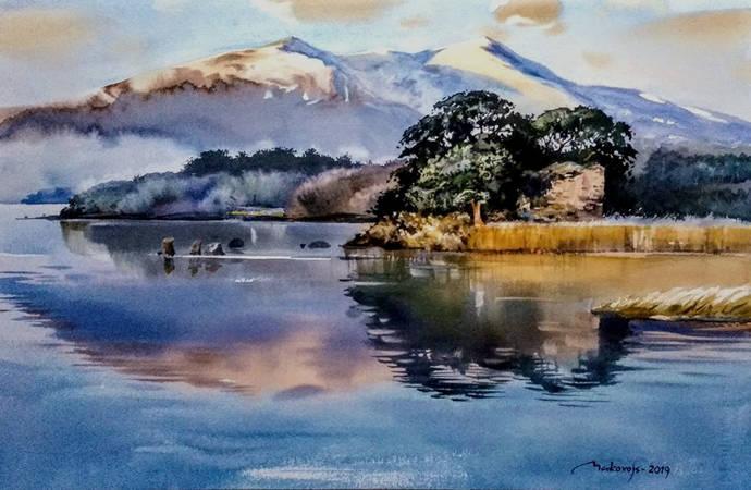 ,,Красота ирландских пейзажей,, акв.бум.Moulin du Roy,38x57 см.2019 г.
