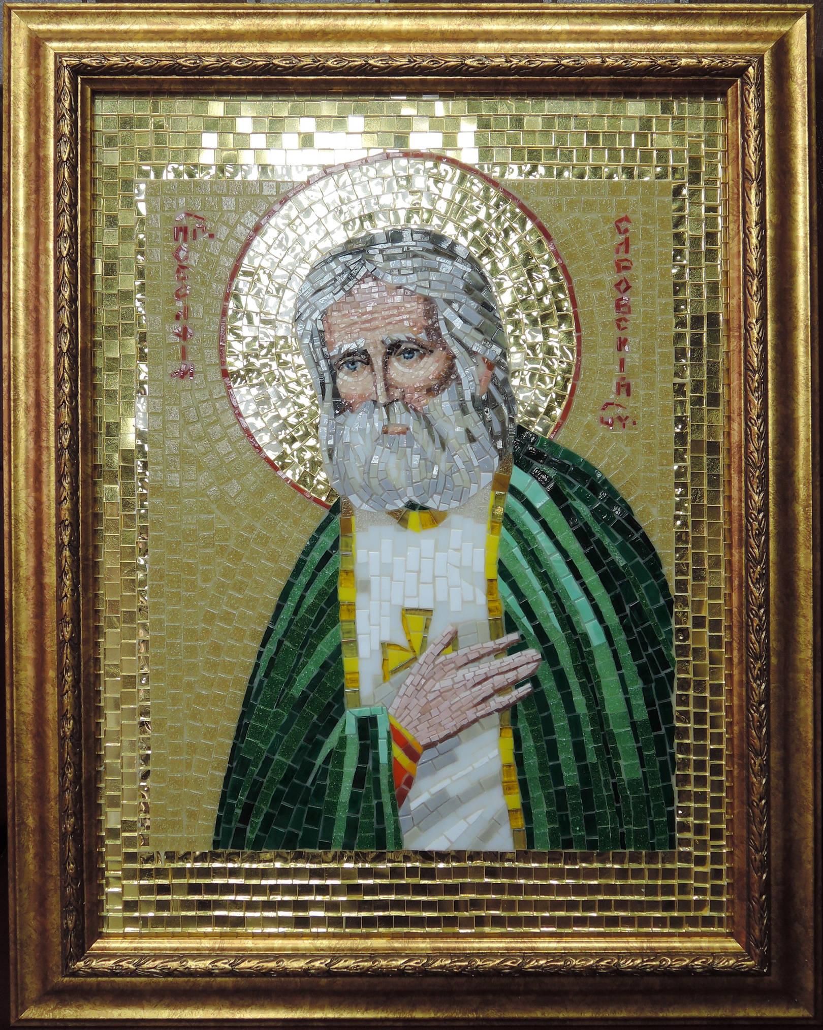 Икона   Серафим Саровский  50 Х60 см .Икона выполнена из стеклянной мозаики BISAZZA ,ROSE , для лица  использовалась итальянская смальта ORSONI.