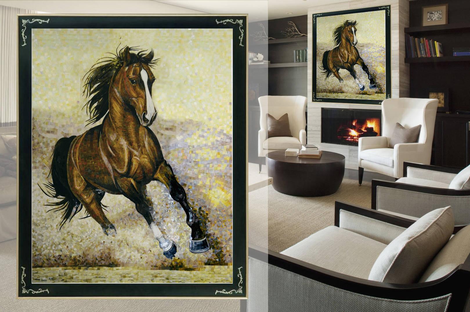 Лошадь  выполнена из витражного стекла. Гладкая  поверхность материала  создает  глянцевый эффект на поверхности картины, это придает блеск  и ощущение отполированной картины. @irina_nesterova_in