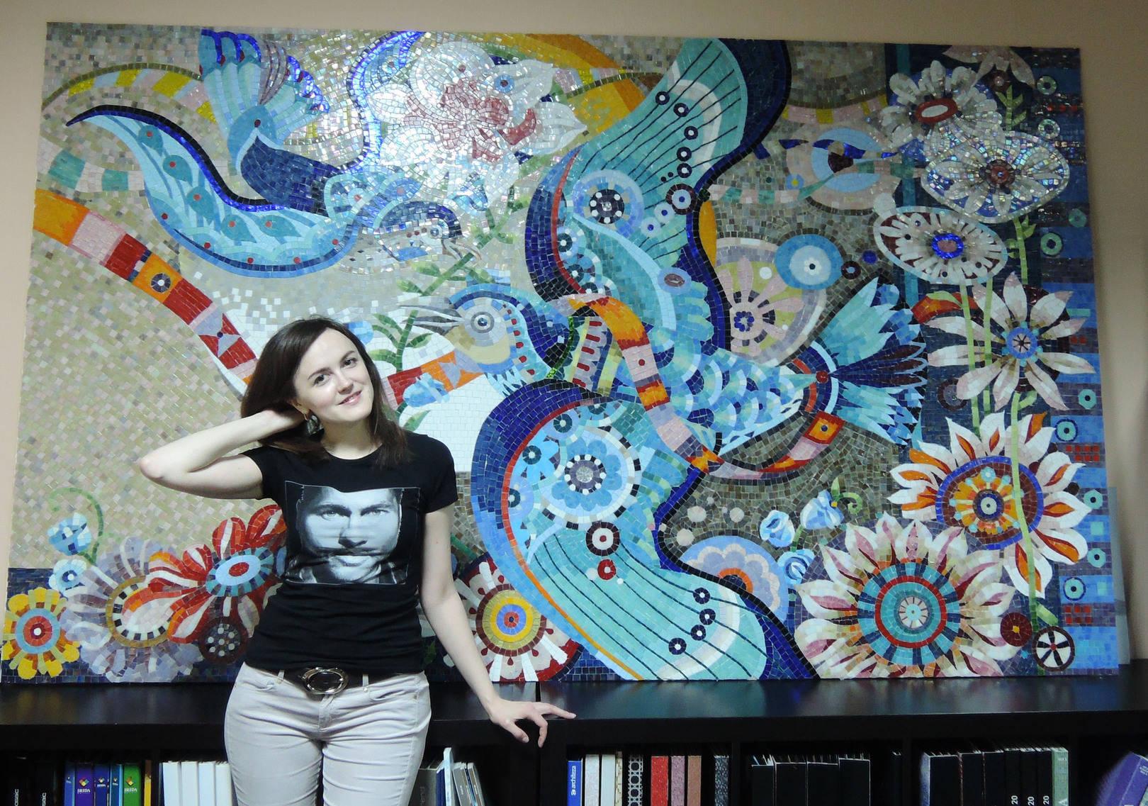 Панно  «Птицы» выполнено по эскизам американского иллюстратора David Galchutt (2000мм Х  1500 мм)  В панно использовалась стеклянная мозаика  ART&NATURA , ARHITEZA , ALMA ,ROSE ,BISZZA . Благодаря сочетанию разных брендов стеклянной мозаики в панно получалась яркая выразительная работа, разнофактурность мозаики подчеркивает оригинальность картины. @irina_nesterova_in