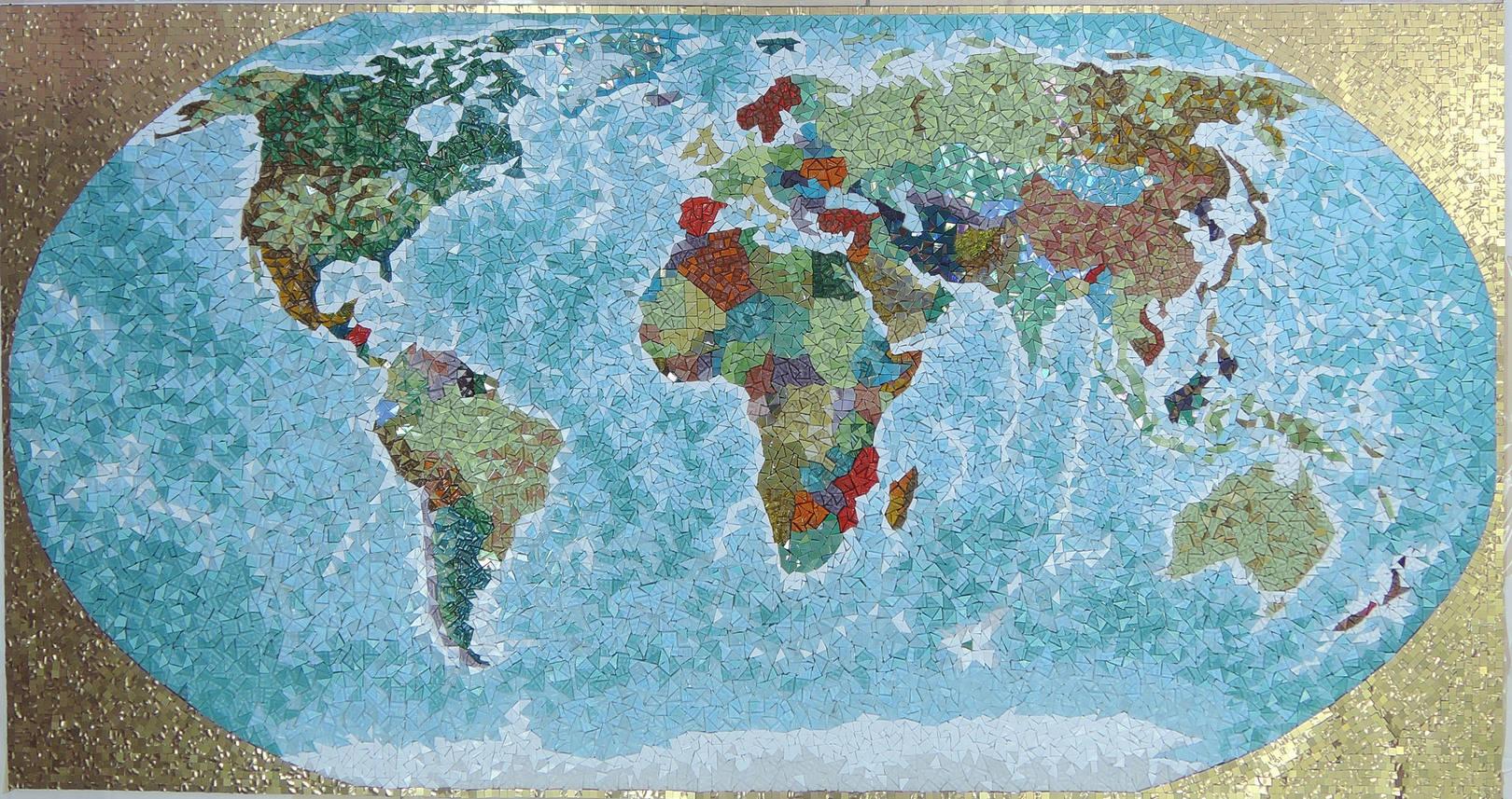 Карта мира 2000мм Х 1200 мм, выполнено в технике художественная мозаика,  с использованием стеклянной мозаики BISAZZA, ROSE, TREND, ART& NATURA. В панно используется комбинирование глянцевой и матовой поверхности стеклянной плитки, а так же комбинирование укладки мозаики.@irina_nesterova_in